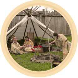 Indiáni, týpí, indiánská vesnice